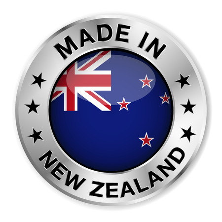 Made in New Zealand silver badge and icon with central glossy New Zealander flag symbol and stars Vector