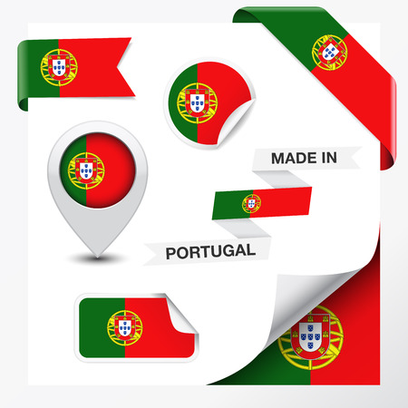 Made in Portugal collection of ribbon, label, stickers, pointer, icon and page curl with Portuguese flag symbol on design element Illustration