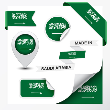 Made in Saudi Arabia collection of ribbon, label, stickers, pointer, icon and page curl with Saudi Arabian flag symbol on design element Vector