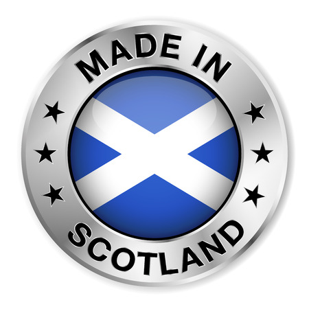 scotland flag: Made in Scotland silver badge and icon with central glossy Scottish flag symbol and stars