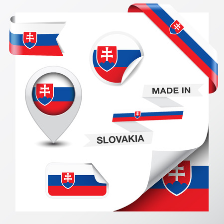 Made in Slovakia collection of ribbon, label, stickers, pointer, icon and page curl with Slovak flag symbol on design element Illustration