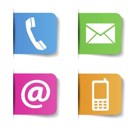 Contact Us web and Internet colorful icons and e-mail design symbols on paper with shadow effect  EPS 10 vector illustration isolated on white background  Illustration