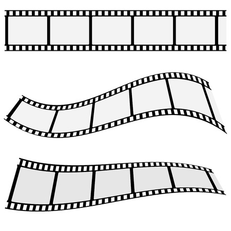 cinta pelicula: Colecci�n del cine marcos de la tira de pel�cula en blanco con un efecto diferente forma y el espacio vac�o para su fotograf�a de cine y foto EPS 10 ilustraci�n vectorial aislados en fondo blanco