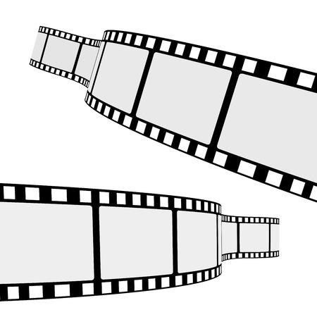 Conjunto de dos marcos de la tira de película de cine en blanco con diferente curva de forma y espacio vacío para su fotografía de cine y foto EPS 10 ilustración vectorial aislados en fondo blanco