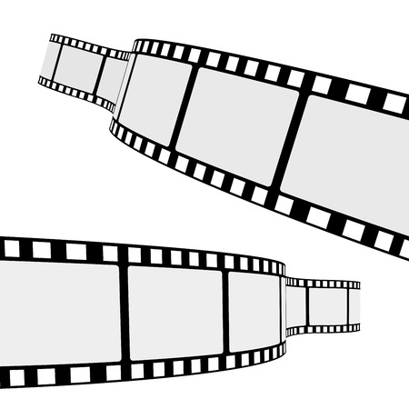 film festival: Set of two blank cinema film strip frames with different shape curve and empty space for your movie photograph and picture  EPS 10 vector illustration isolated on white background  Illustration