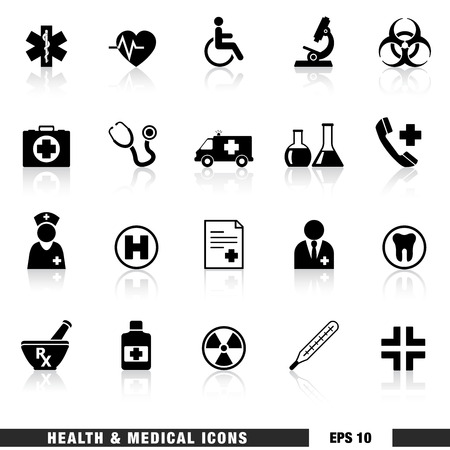 Vector set of black health and medical web icon and design elements for hospital, ambulatory, clinic or other health care institution  EPS 10 illustration on white background with reflection effect  Vector