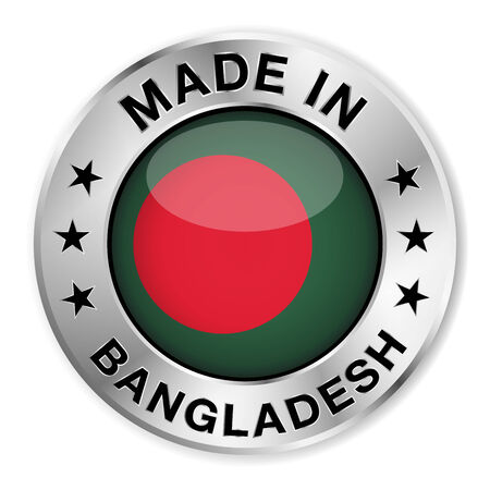 bangladesh: Made in Bangladesh silver badge and icon with central glossy Bangladeshi flag symbol and stars  Vector EPS 10 illustration isolated on white background  Illustration