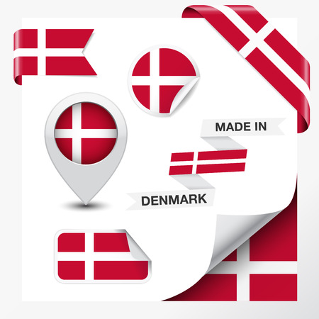 danish flag: Made in Denmark collection of ribbon, label, stickers, pointer, badge, icon and page curl with Danish flag symbol on design element  Vector EPS 10 illustration isolated on white background
