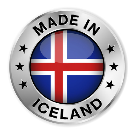 iceland: Made in Iceland silver badge and icon with central glossy Icelander flag symbol and stars  Vector EPS 10 illustration isolated on white background