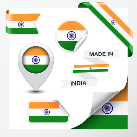 Made in India collection of ribbon, label, stickers, pointer, icon and page curl with Indian flag symbol on design element  Vector EPS 10 illustration isolated on white background  Vector