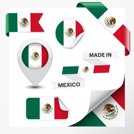 bandera de mexico: Hecho en México colección de la cinta, la etiqueta, etiquetas engomadas, puntero, icono y enrollamiento de la página con el símbolo de la bandera de México el elemento de diseño vectorial EPS 10 ilustración aislado sobre fondo blanco