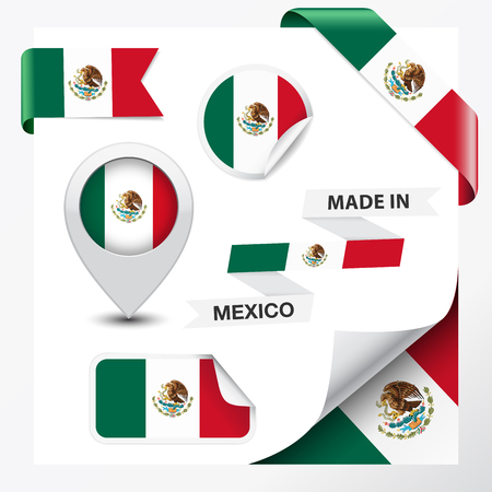 Made in Mexico collection of ribbon, label, stickers, pointer, icon and page curl with Mexican flag symbol on design element  Vector EPS 10 illustration isolated on white background  Vector