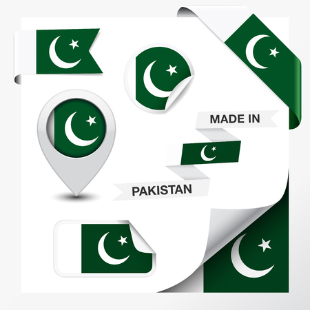 pakistan flag: Made in Pakistan collection of ribbon, label, stickers, pointer, badge, icon and page curl with Pakistani flag symbol on design element  Vector EPS 10 illustration isolated on white background