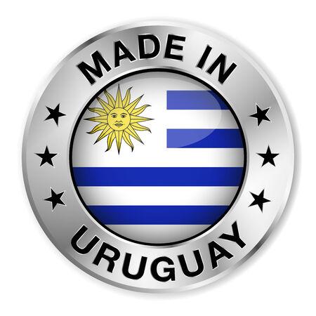 bandera de uruguay: Hecho en insignia de plata Uruguay y el icono con brillante símbolo de la bandera uruguaya central y estrellas Vector EPS 10 ilustración aislado sobre fondo blanco