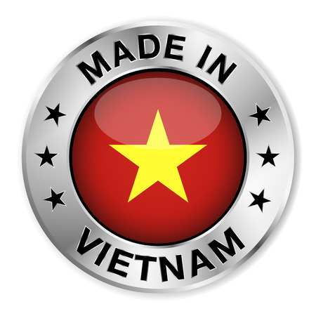 Made in Vietnam silver badge and icon with central glossy Vietnamese flag symbol and stars  Vector EPS 10 illustration isolated on white background  Vector
