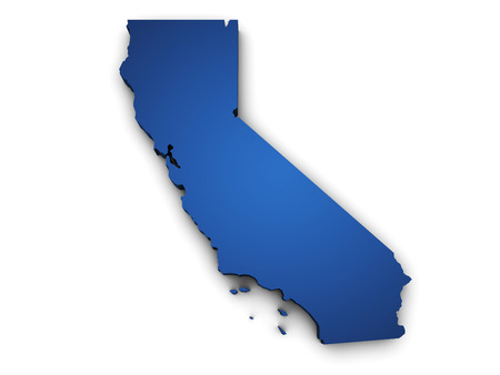Shape 3d of California State map colored in blue and isolated on white background