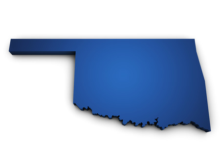 Shape 3d of Oklahoma State map colored in blue and isolated on white background