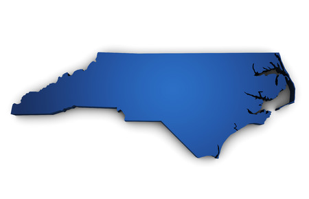 Shape 3d of North Carolina State map colored in blue and isolated on white background