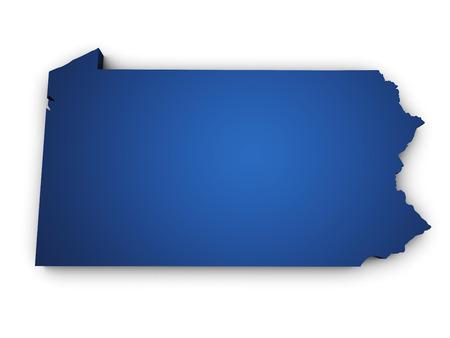Vorm 3d van Pennsylvania State kaart gekleurd in blauw en op een witte achtergrond