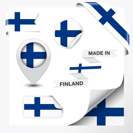 made in finland: Made in Finland collection of ribbon, label, stickers, pointer, badge, icon and page curl with Finnish flag symbol on design element  Vector EPS 10 illustration isolated on white background