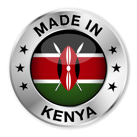 kenya: Made in Kenya silver badge and icon with central glossy Kenyan flag symbol and stars  Vector EPS 10 illustration isolated on white background