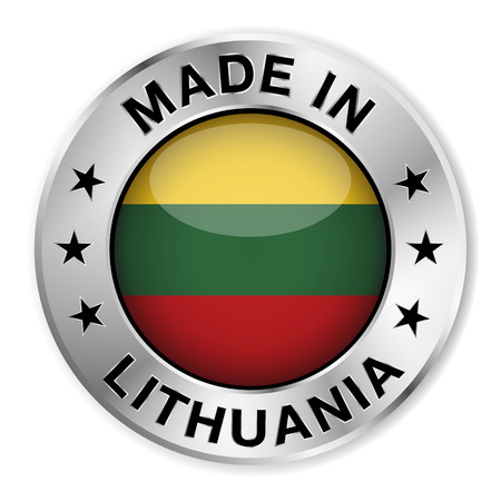 lithuanian: Made in Lithuania silver badge and icon with central glossy Lithuanian flag symbol and stars  Vector EPS 10 illustration isolated on white background  Illustration