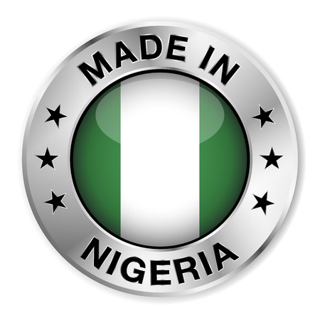 nigerian: Made in Nigeria silver badge and icon with central glossy Nigerian flag symbol and stars  Vector EPS 10 illustration isolated on white background