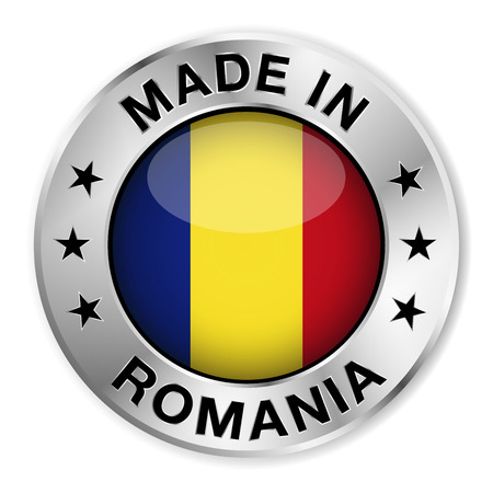 Made in Romania silver badge and icon with central glossy Romanian flag symbol and stars  Vector EPS 10 illustration isolated on white background  Vector