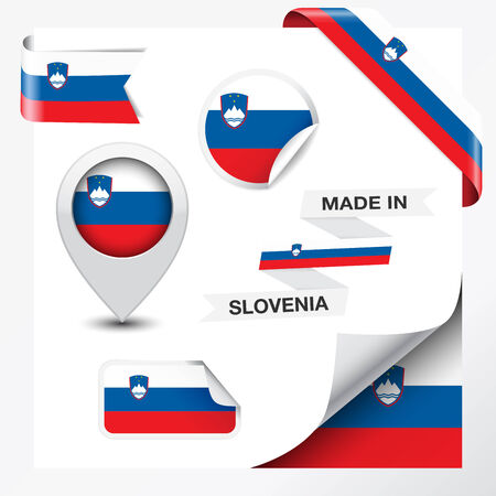 Made in Slovenia collection of ribbon, label, stickers, pointer, icon and page curl with Slovene flag symbol on design element  Vector EPS 10 illustration isolated on white background