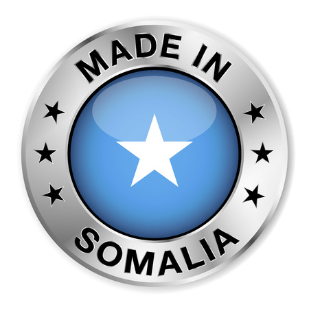 somalian: Made in Somalia silver badge and icon with central glossy Somalian flag symbol and stars  Vector EPS 10 illustration isolated on white background