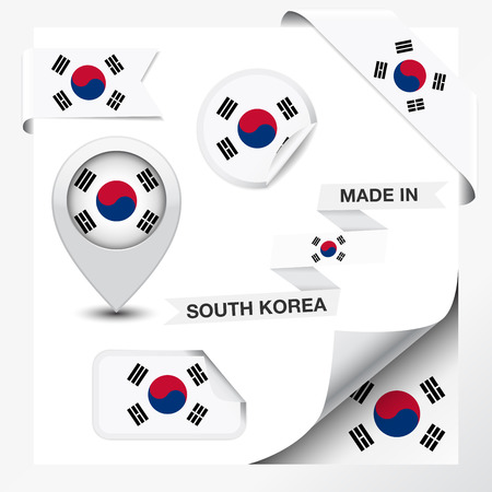 Made in South Korea collection of ribbon, label, stickers, pointer, badge, icon and page curl with South Korean flag symbol on design element  Vector EPS 10 illustration isolated on white background
