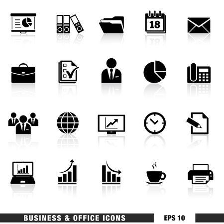 fax: Vector set of black business and office web icon and design elements for web pages, marketing and business services and institution