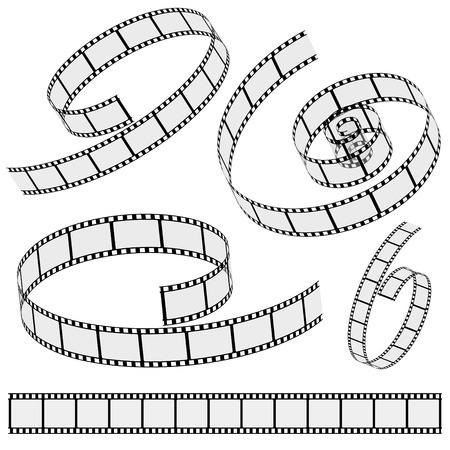 Collection of blank cinema film strip frames with different shape and curve effect and empty space for your movie photograph and picture  EPS 10 vector illustration isolated on white background