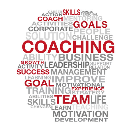 Business Coaching i koncepcji zarządzania z różnych czerwonych, czarnych i szarych słów tworzących kształt głowy człowieka