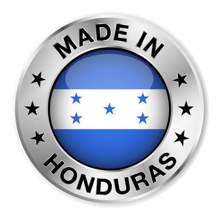bandera honduras: Hecho en Honduras insignia de plata y un icono con brillante símbolo de la bandera de Honduras central y estrellas