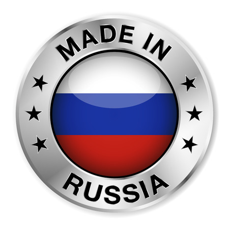 made in: Made in Russia silver badge and icon with central glossy Russian flag symbol and stars