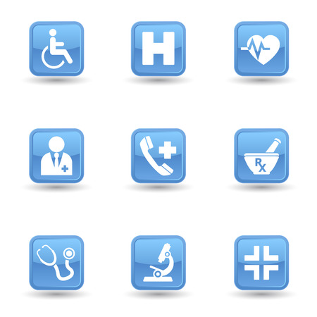 Vector set of health and medical web icon and design elements on blue glossy badges for hospital, ambulatory, clinic or other health care institution   Vector