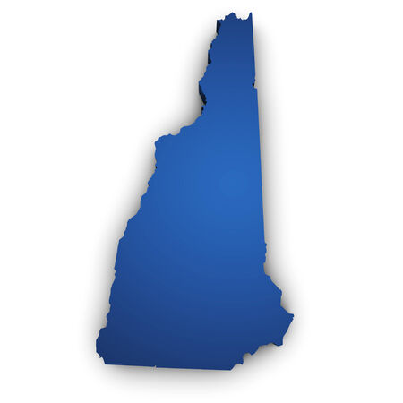 Shape 3d of New Hampshire State map colored in blue and isolated on white background  Stock Photo