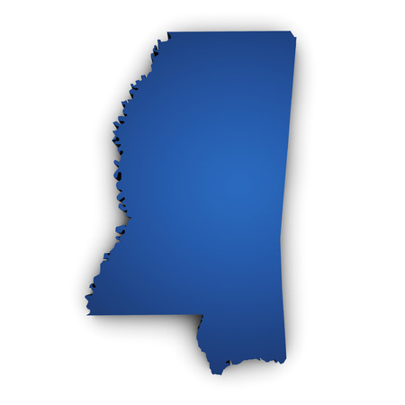 Shape 3d of Mississippi State map colored in blue and isolated on white background
