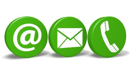 Website-und Internet-Konzept mit uns mit E-Mail, an und Telefon Symbole und Zeichen auf drei grünen runden Tasten isoliert auf weißem Hintergrund Standard-Bild - 28076909