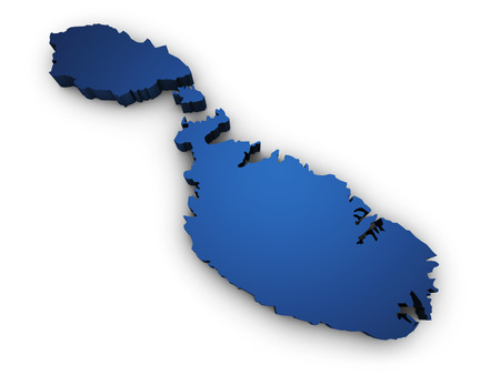Shape 3d of Malta map colored in blue and isolated on white  Stock Photo