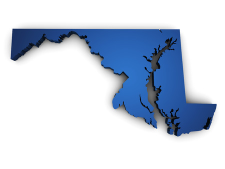 Shape 3d of Maryland state map colored in blue and isolated on white