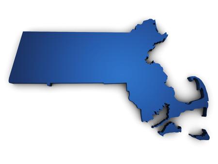 マサチューセッツの地図色の青で、白で隔離の 3 d を形状します。