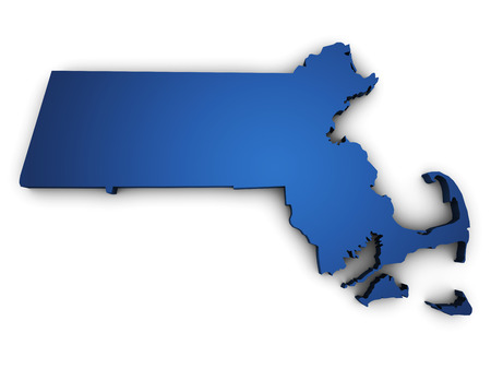 Shape 3d of Massachusetts map colored in blue and isolated on white
