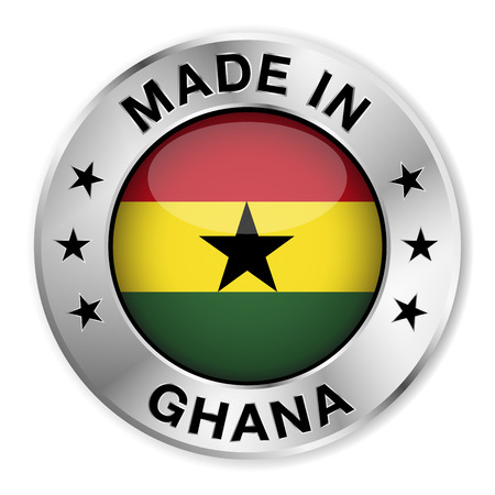 Made in Ghana silver badge and icon with central glossy Ghanaian flag symbol and stars