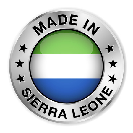 Made in Sierra Leone silver badge and icon with central glossy Sierra Leonean flag symbol and stars Vector