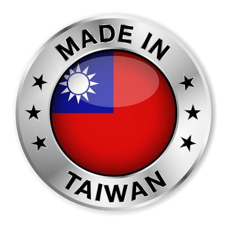 Made in Taiwan silver badge and icon with central glossy Taiwanese flag symbol and stars Vector