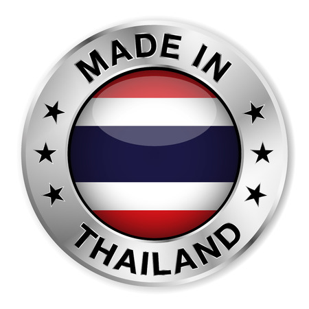 Made in Thailand silver badge and icon with central glossy Thai flag symbol and stars  Illustration