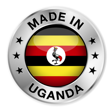 ugandan: Made in Uganda silver badge and icon with central glossy Ugandan flag symbol and stars