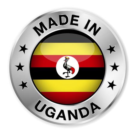 uganda: Made in Uganda silver badge and icon with central glossy Ugandan flag symbol and stars